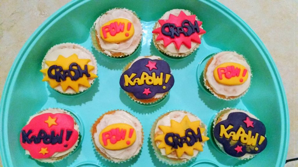 superhero party cupcakes comic pow