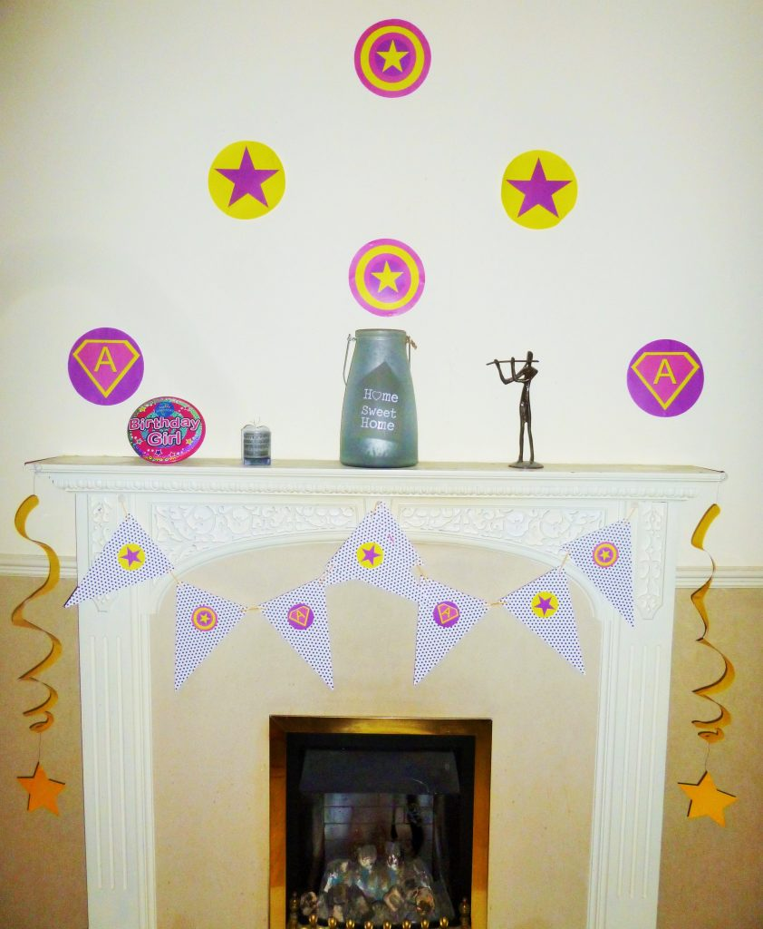 superhero party venue decorate wall