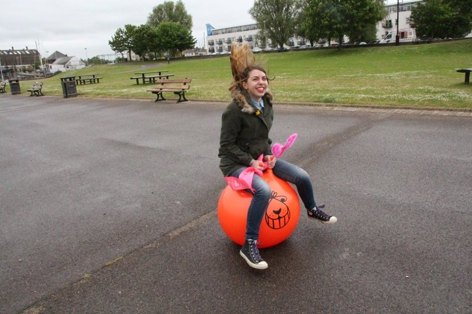 Autumn's Mummy on a Space Hopper Bloggers Bludd Intrepid Bebe