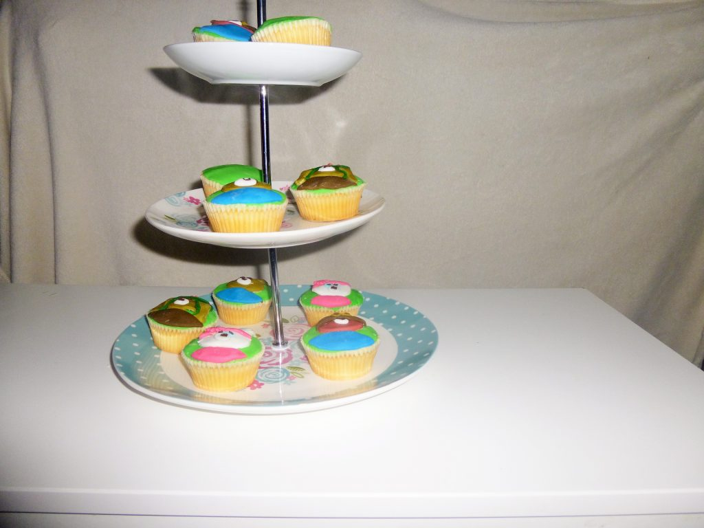 CBeebies Peter Rabbit Characters Cupcakes on 3 tier cake stand