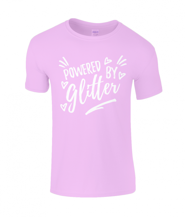 Lucy At Home Kids T-Shirt Powered By Glitter Light Pink