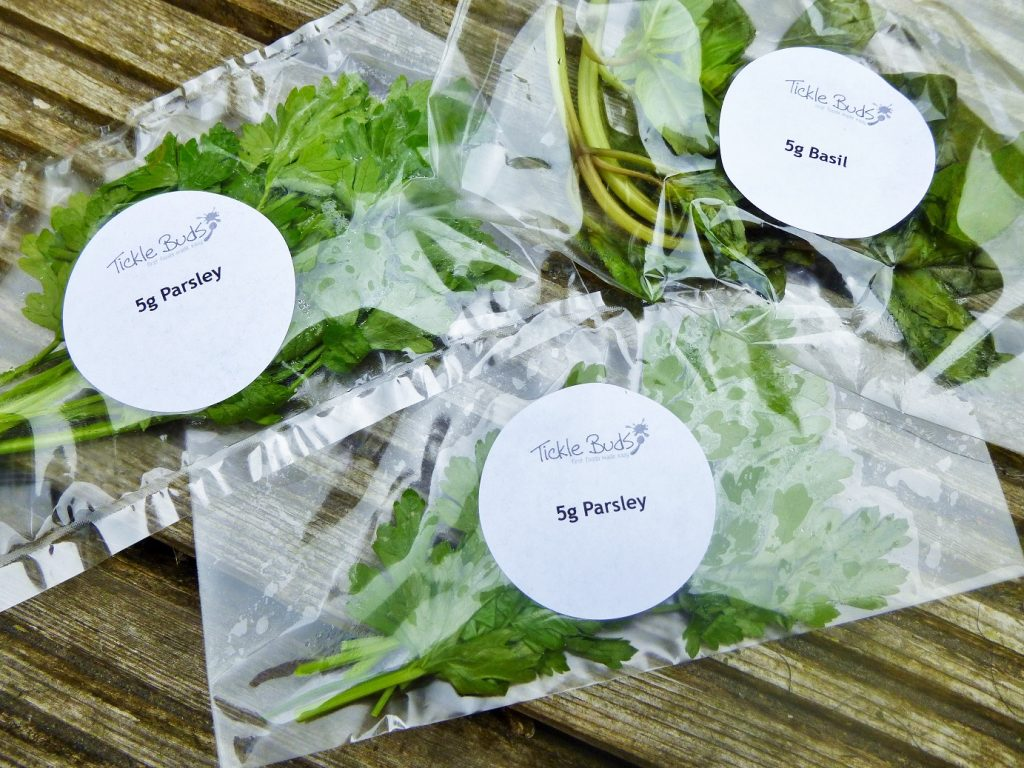 ticklebuds herbs pre-weighed and packaged