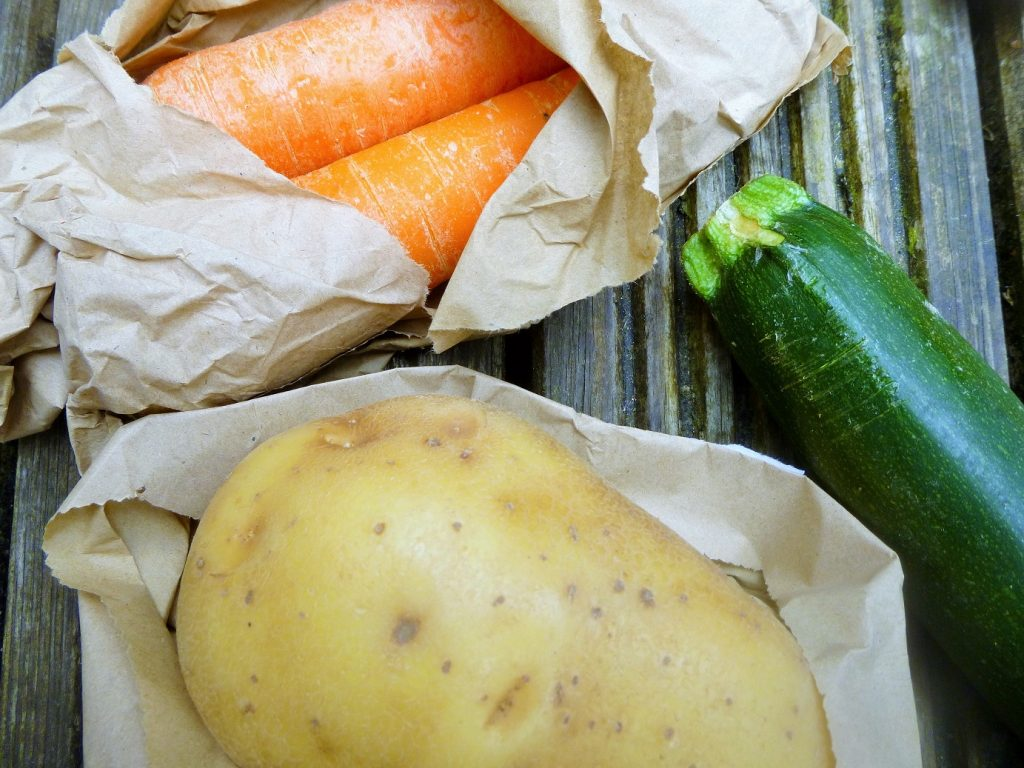 ticklebuds fresh ingredients - courgette, carrot, potato
