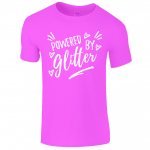Lucy At Home kids t-shirt Powered By Glitter heliconia