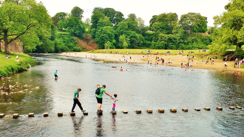 west yorkshire beach bolton abbey stepping stones