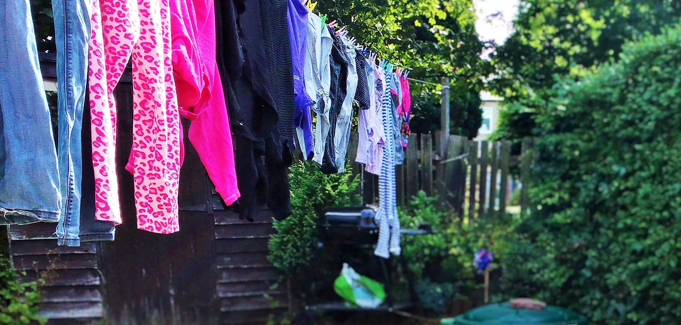Money-saving tips washing hanging outside