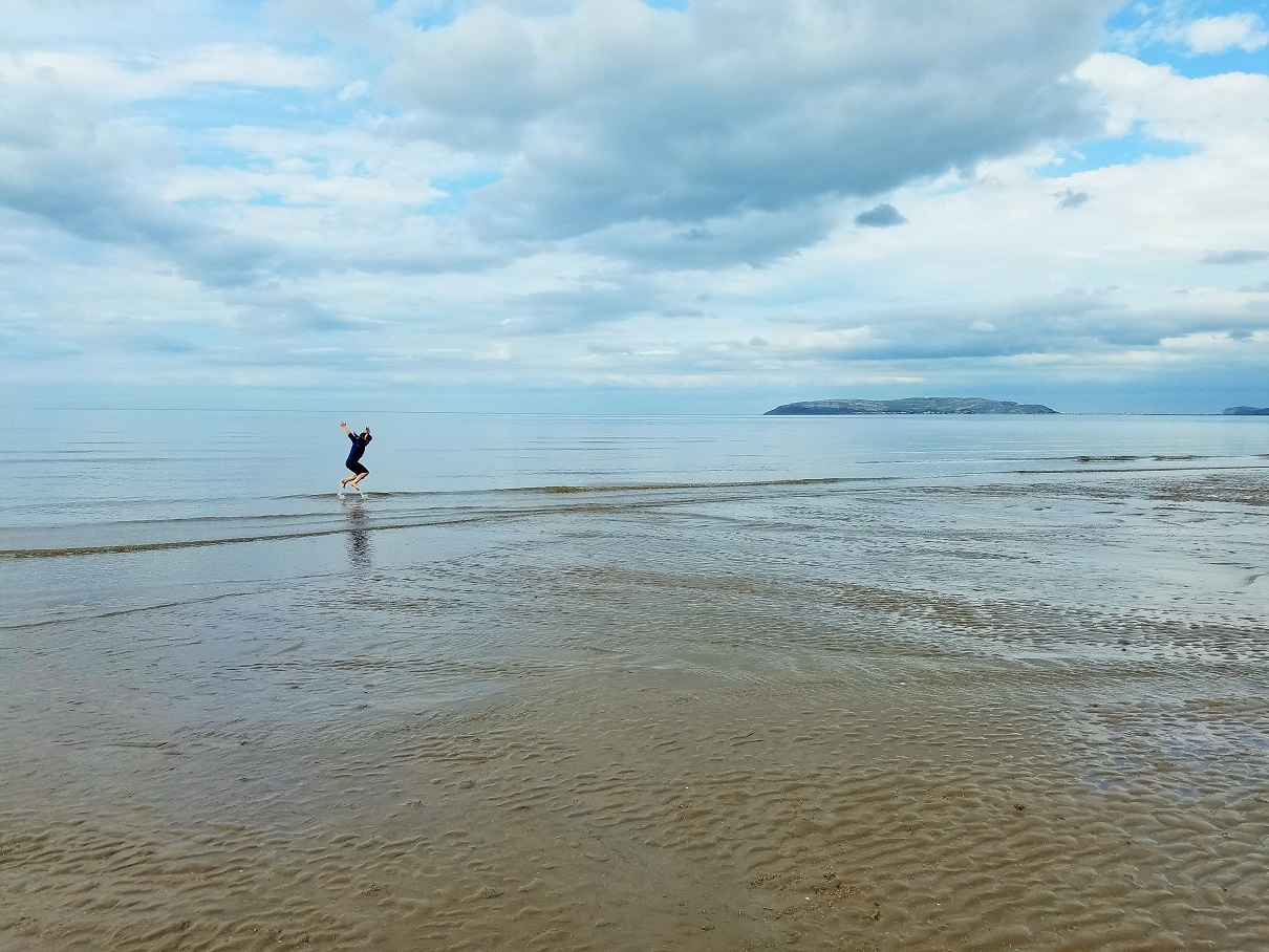 North Wales Llanfairfechan Jumping In The Sea