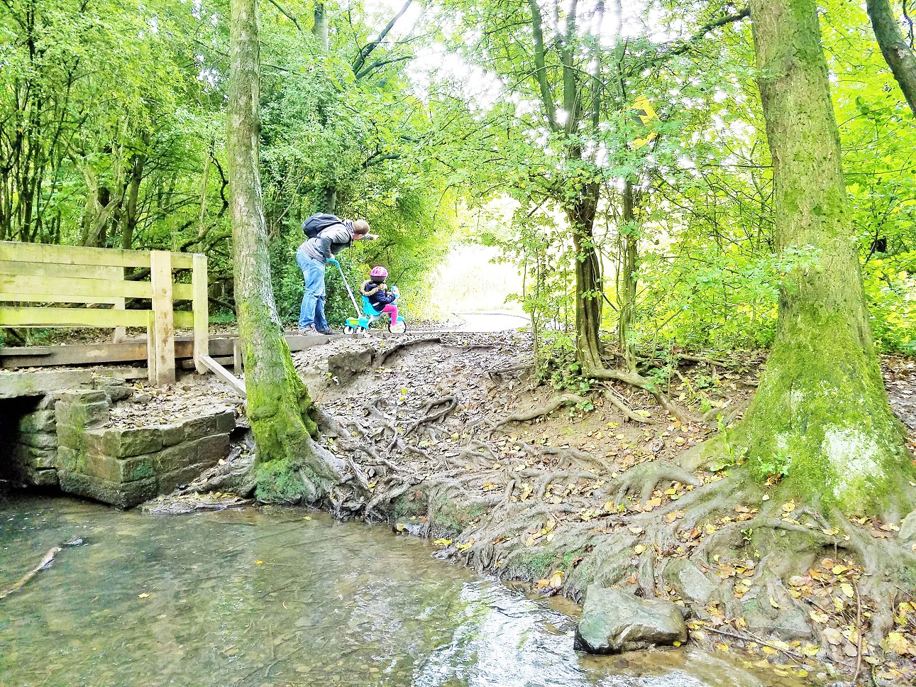 VTech Trike oakwell hall stream with a bridge