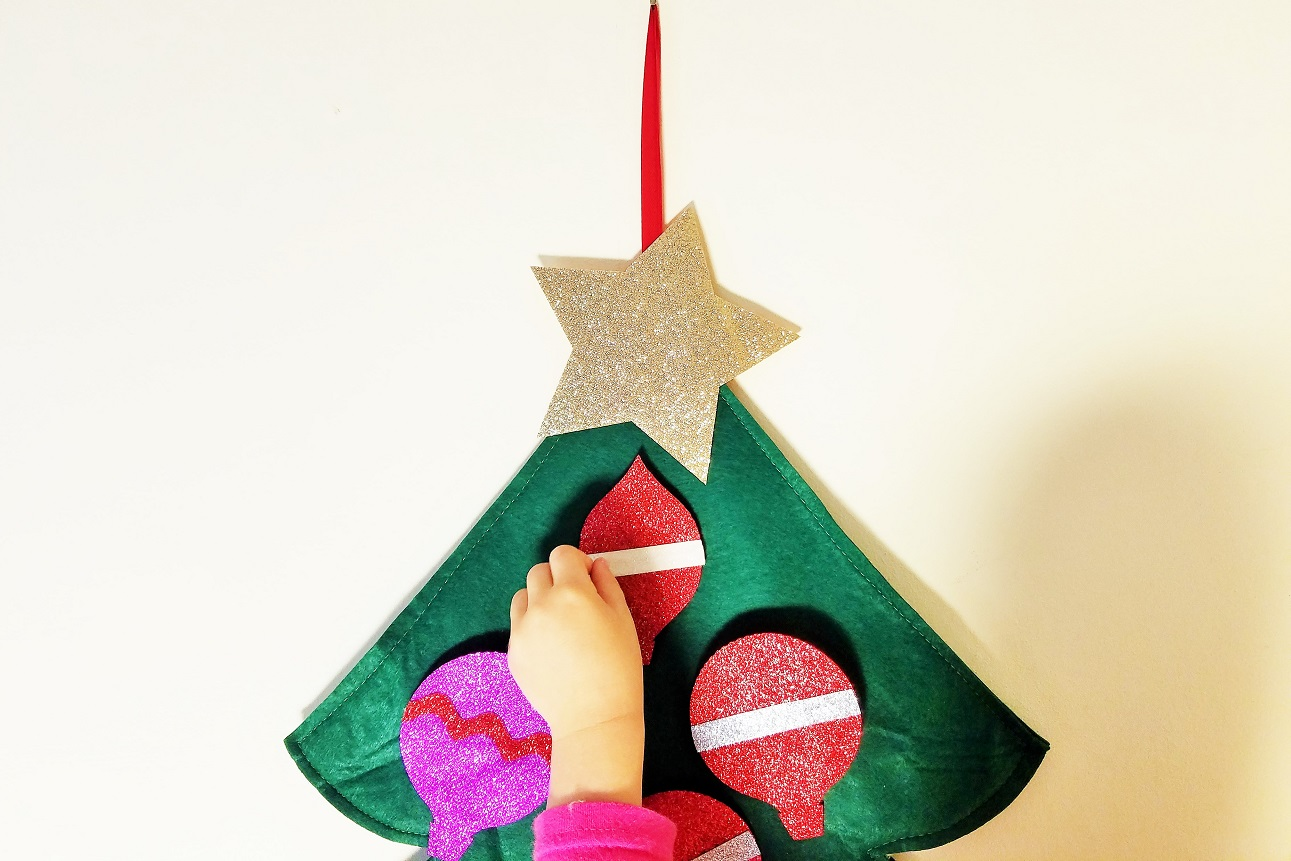 Felt Christmas Decorations small hand hanging baubles - gentle parenting and Santa