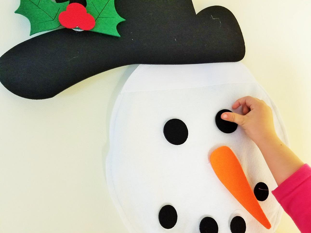 Felt Christmas Decorations Coal Eyes on Snowman