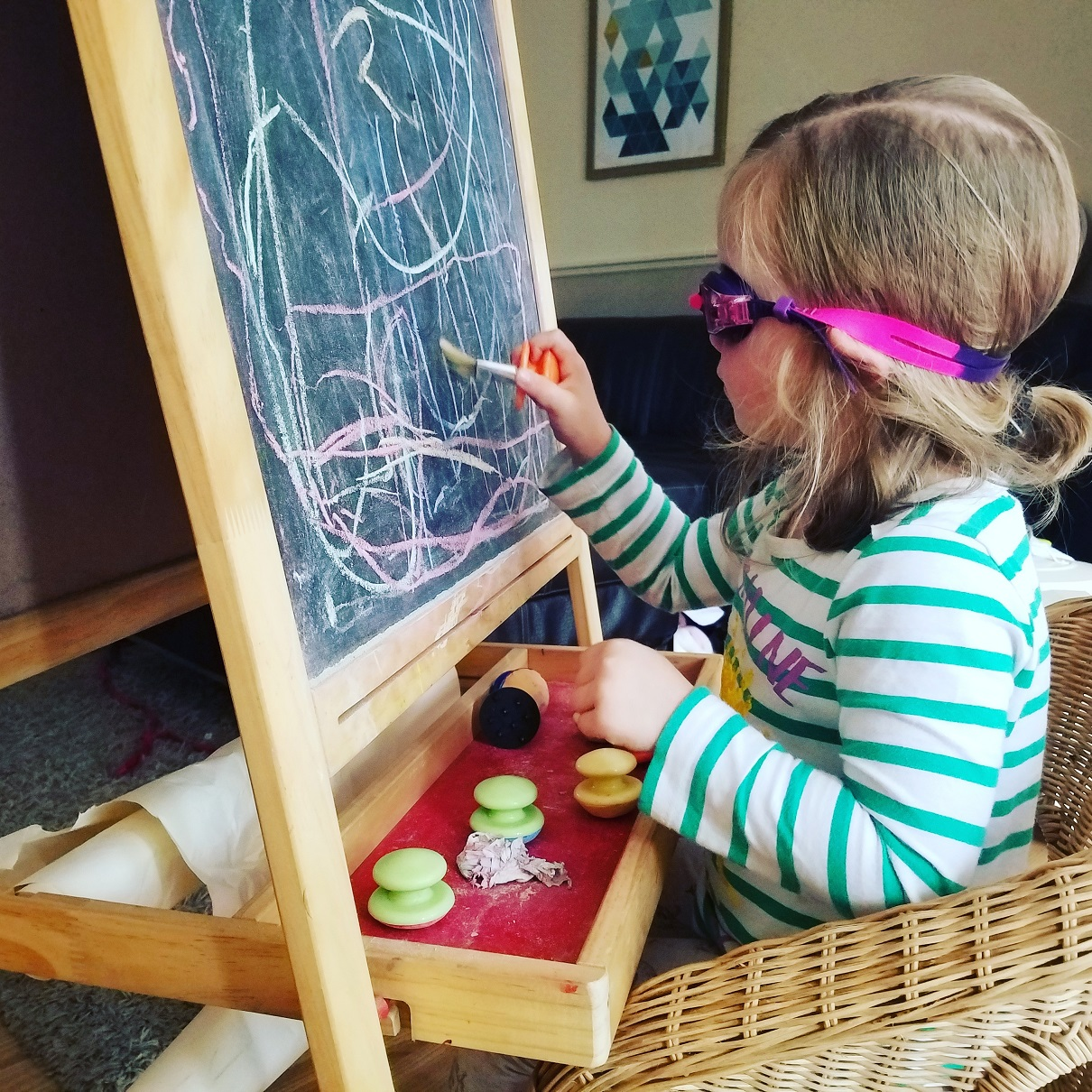 Goggles Chalk board easel starting nursery Stay at Home Mum - happy mum