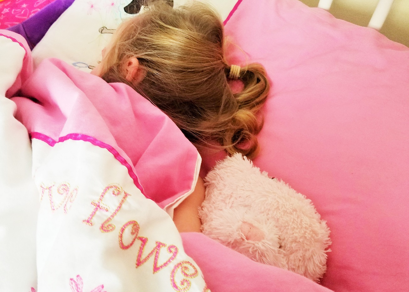 Stuffed toys child asleep in bed with teddy