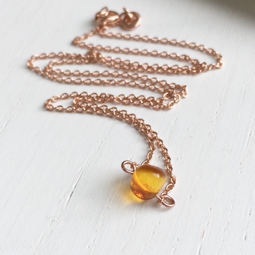 Walter & May Baltic Amber Necklace Rose Gold Chain Christmas Gift Guide
