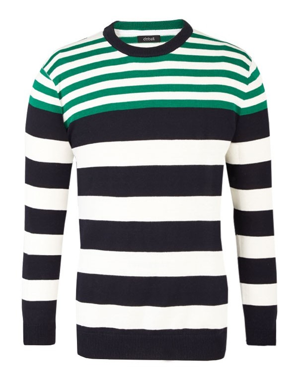 Stylish Gift Ideas For Men Navy Blue Green Stripy Jumper from Dobell