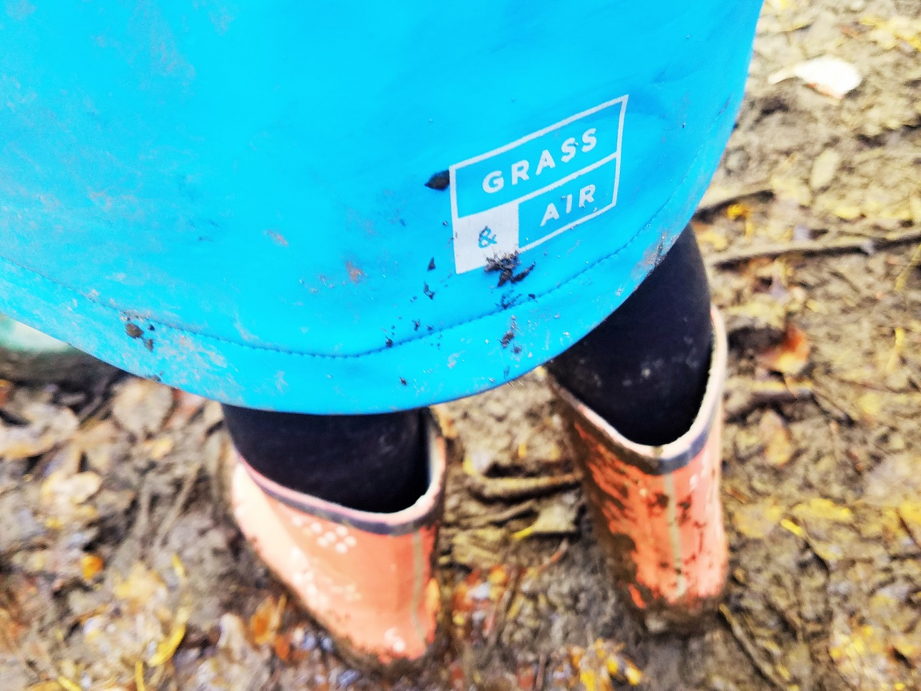 Grass & Air muddy wellies and logo Blogcrush week 41