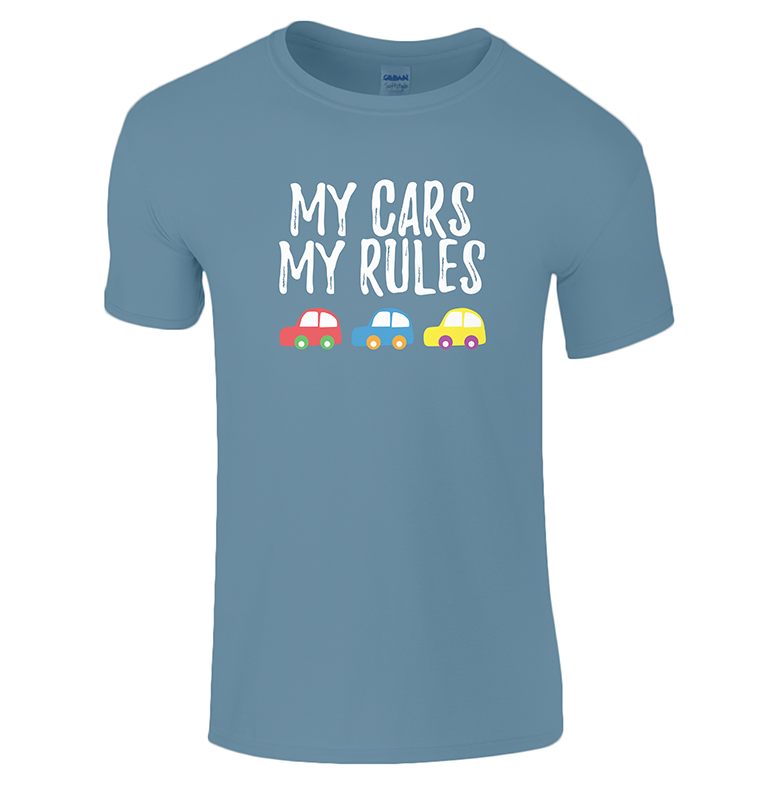 Creative Kids Gift Guide My Cars My Rules t-shirt Lucy At Home indigo