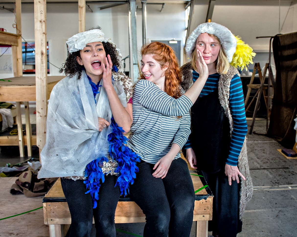 Riana Duce, Emily Goldie and Lucy Bairstow in Crumble's Search for Christmas. Photography by Anthony Robling