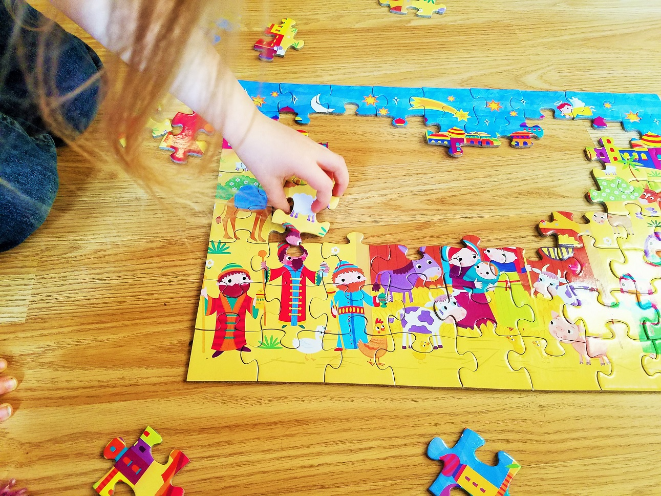Child with anxiety - fitting the pieces of a Nativity jigsaw together
