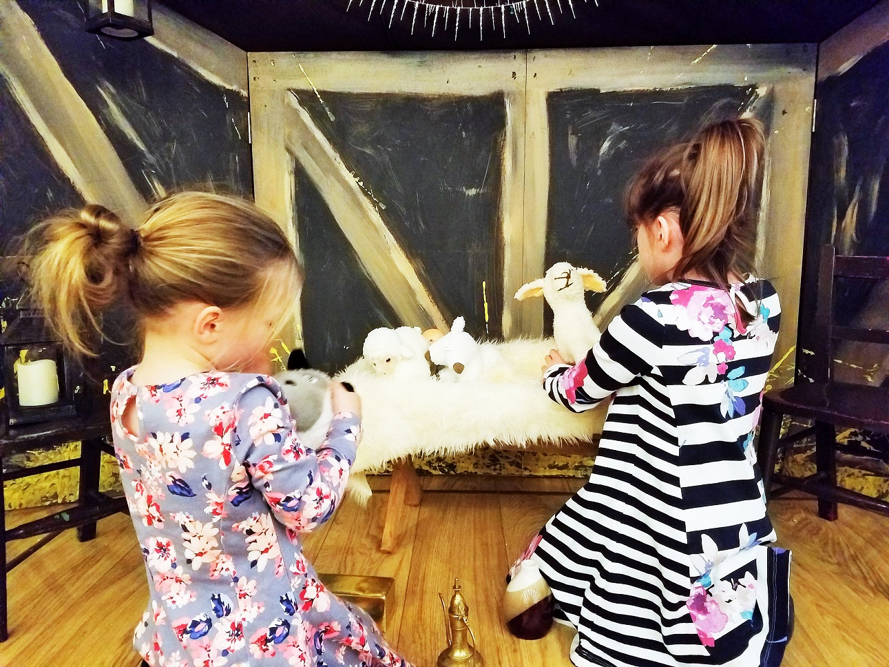 Anxiety - Children playing in a nativity stable with sheep