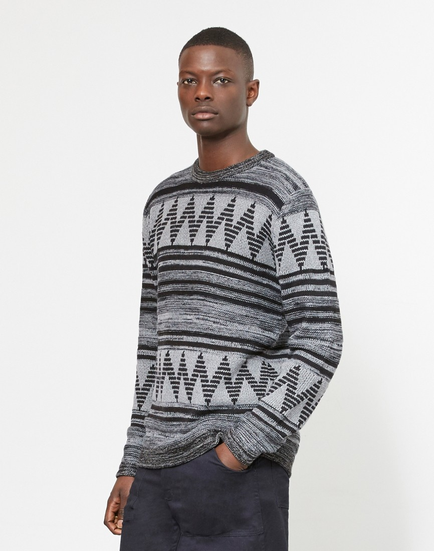 The Idle Man ZigZag Grey Jumper
