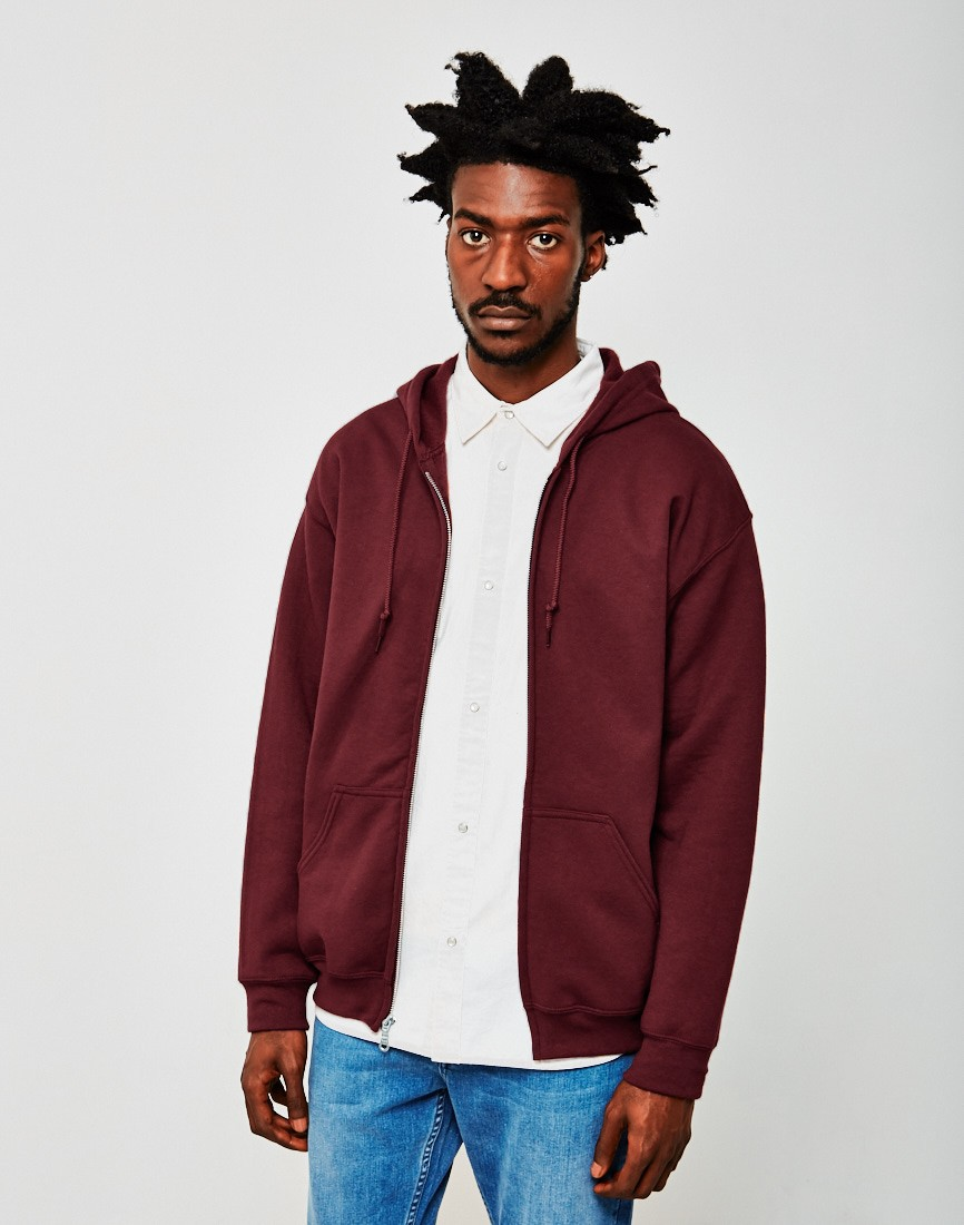 The Idle Man Zip Through Burgundy Hoodie