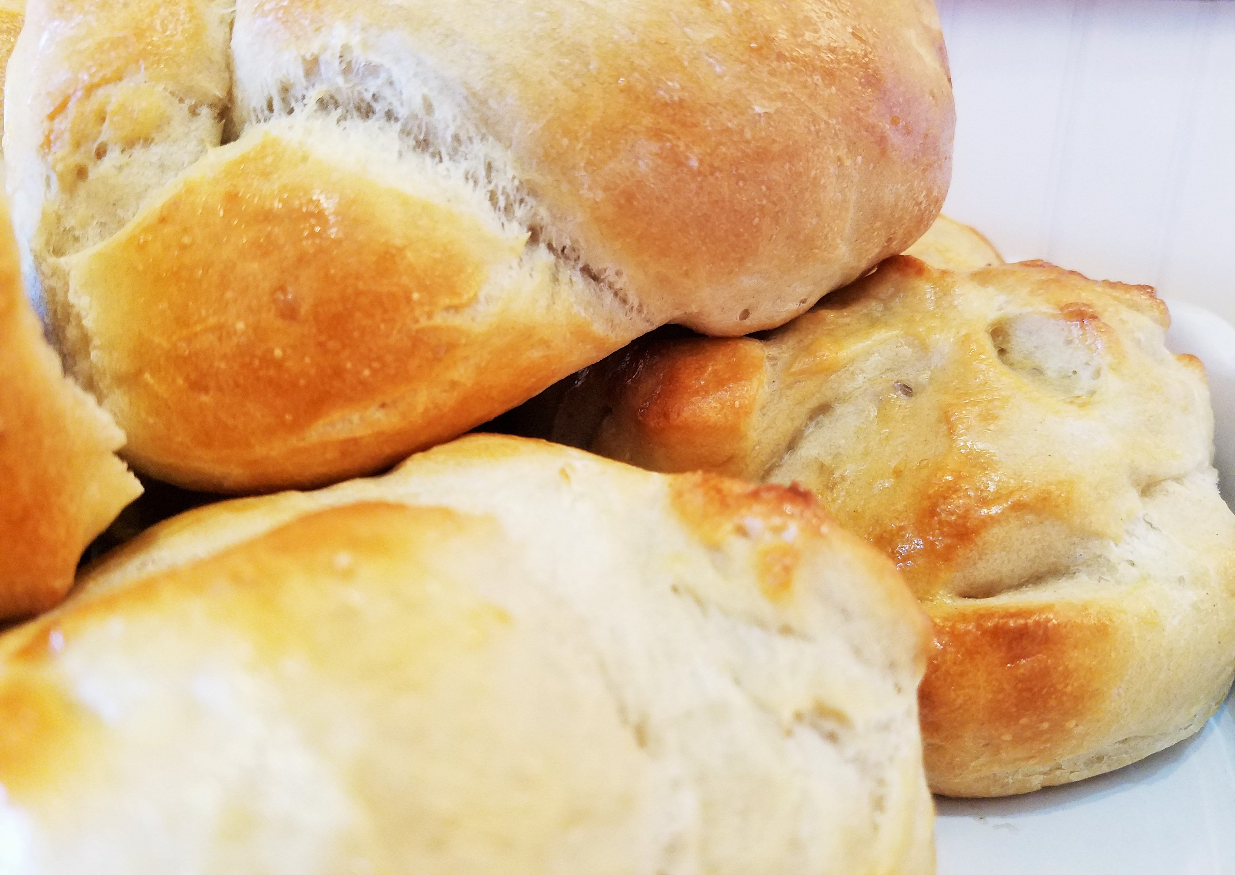 Freshly baked bread rolls from a bread maker