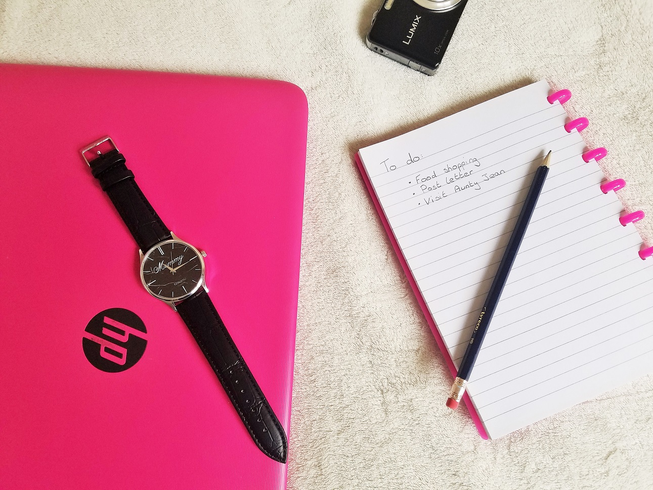 Novanu London Watch - Busy working mum, notepad and laptop - digital technology tips for mums