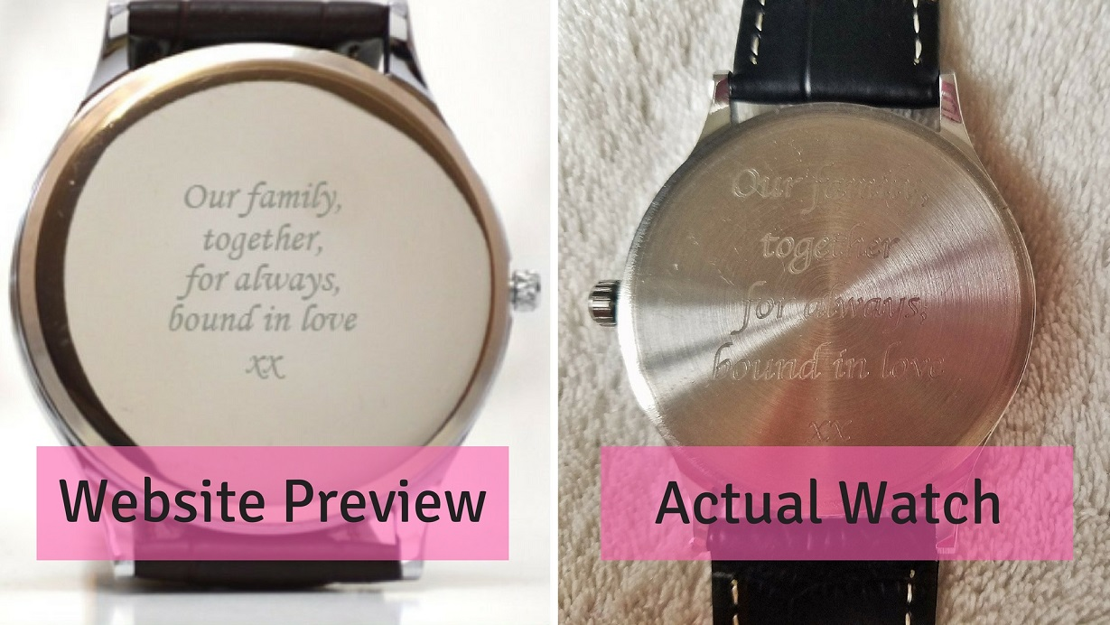 Novanu London watch - website preview engraving versus finished product