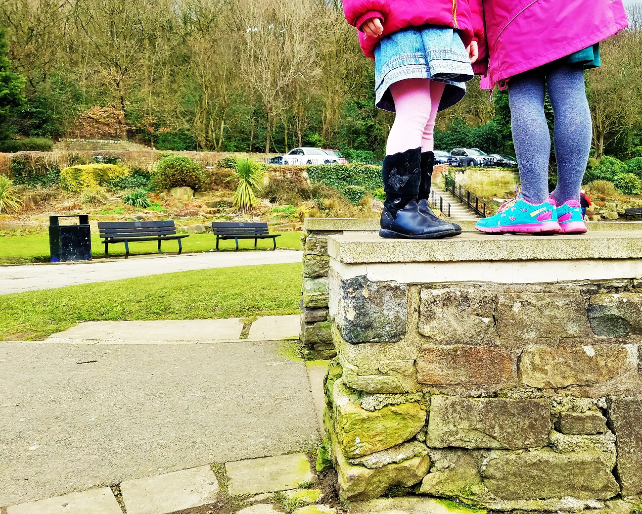Not Your Mama Forever - two children stood on a wall legs - BlogCrush Week 54
