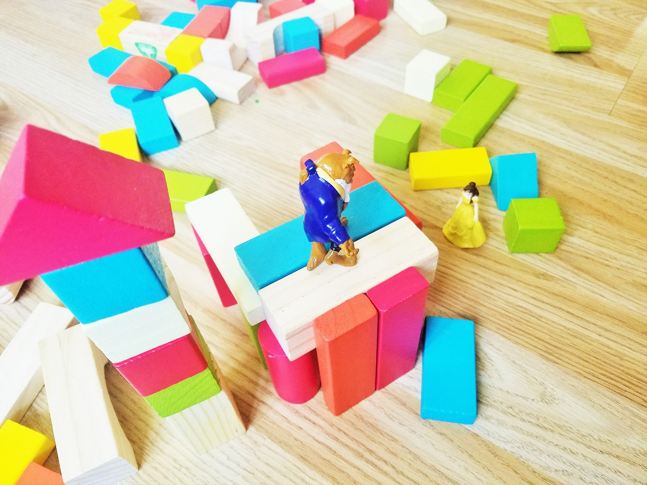 it's hard when you live away from family - child's coloured bricks