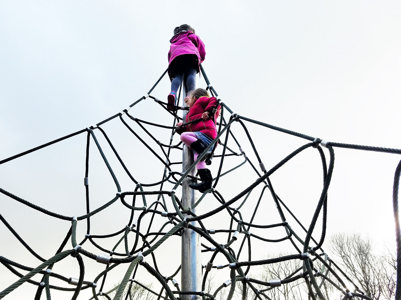 full time mummy need a break - two small children climbing very high up on a climbing frame