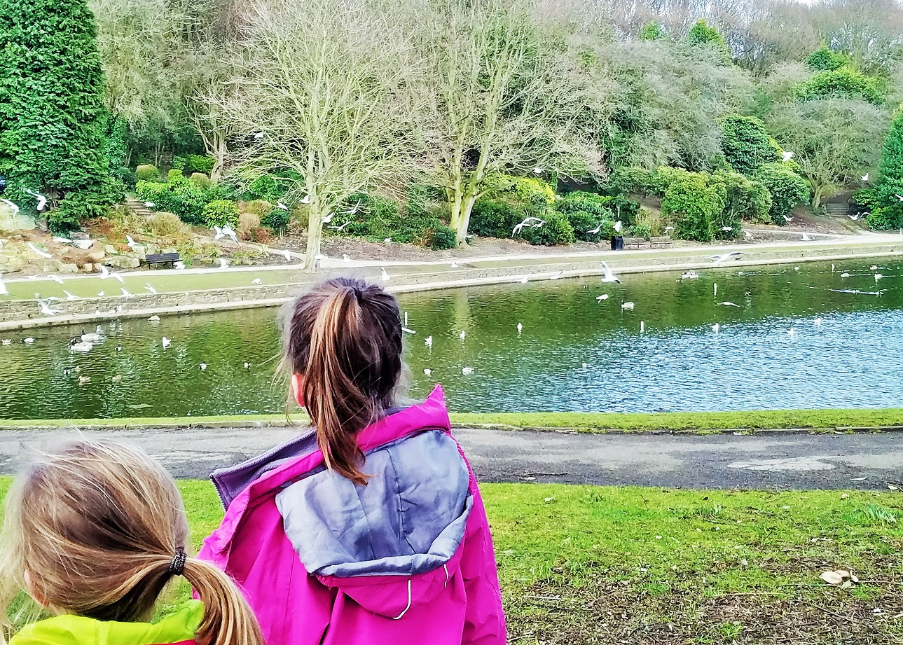 9 things my kids say that make my heart sing - no I don't want a kiss - sisters watching a lake with birds on