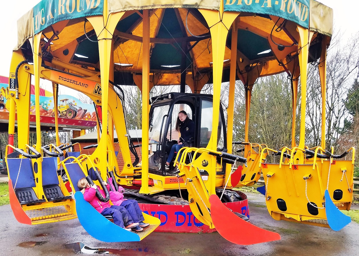Diggerland in the rain - digger merry go round
