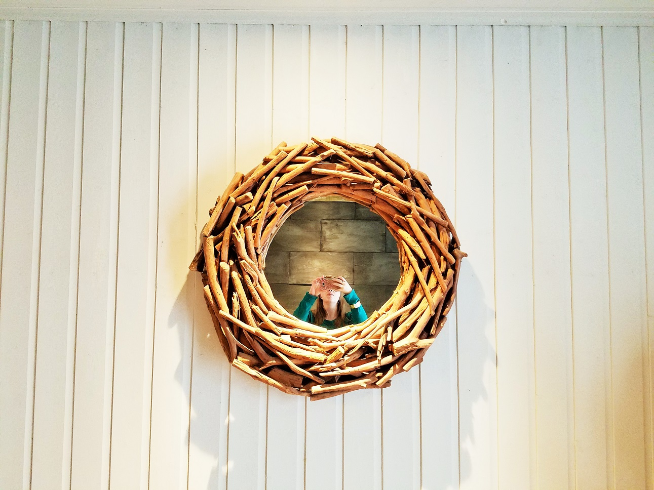 Glamping in East Yorkshire - North Star Club - wooden circle mirror