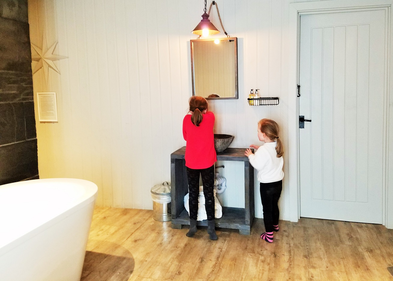 Children using the luxury bathroom at North Star Club