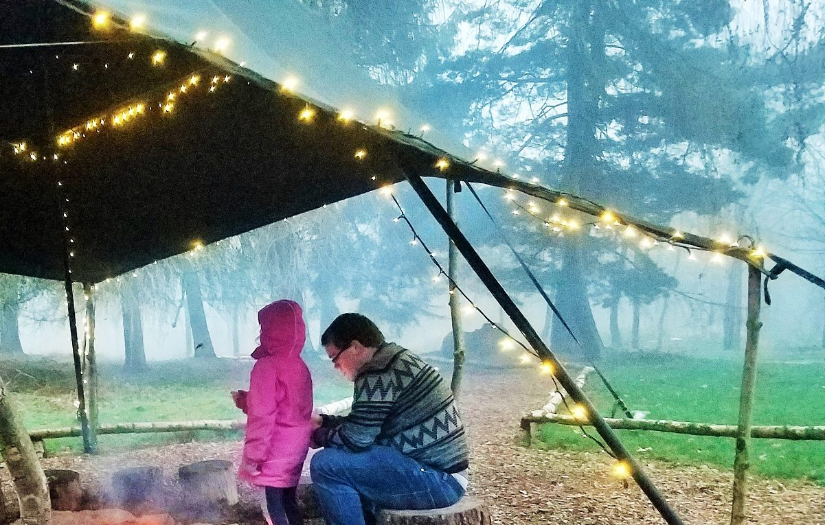 Fairy Lights by a campfire - glamping at North Star Club in Yorkshire