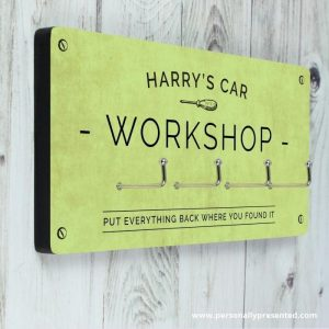 dads to grandads gift guide for Father's Day 2018 - personalised plaque with hooks for garage / workshop - DIY dad