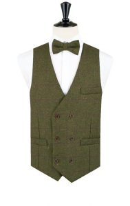 dads to grandads gift guide for Father's Day 2018 - Dobell earth green tweed waistcoat