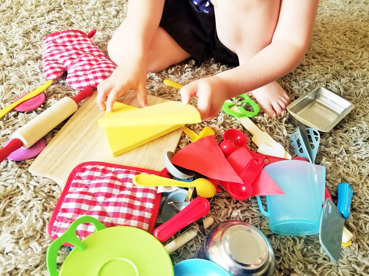 Gentle Parenting Means Being Gentle With Yourself Too - messy floor, child baking and cooking