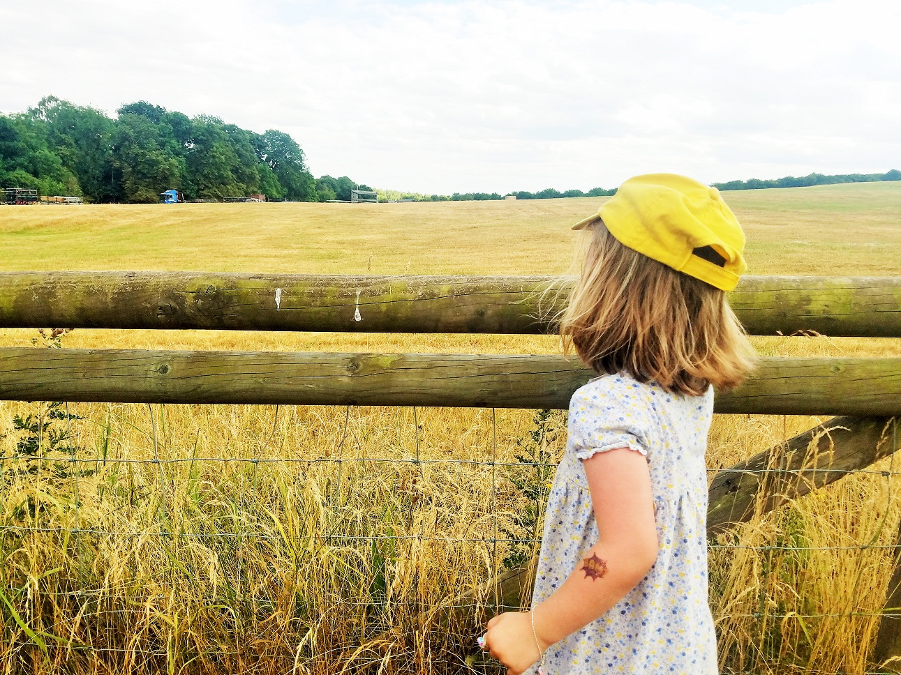 Gentle Parenting and the Art of Listening - child in a yellow hat looking out over a yellow field of wheat - BlogCrush Week 74