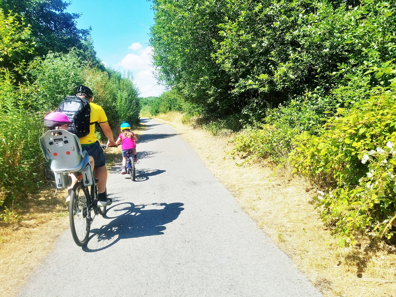 The importance of cause and effect in parenting - consequences versus punishments - father on bike ride with young children - BlogCrush Week 75