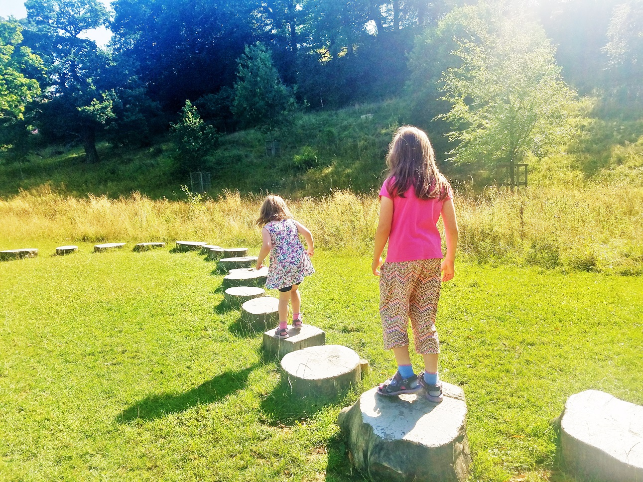 Positive attention reinforces good behaviour - sisters walking on stepping stones at Bolton Abbey