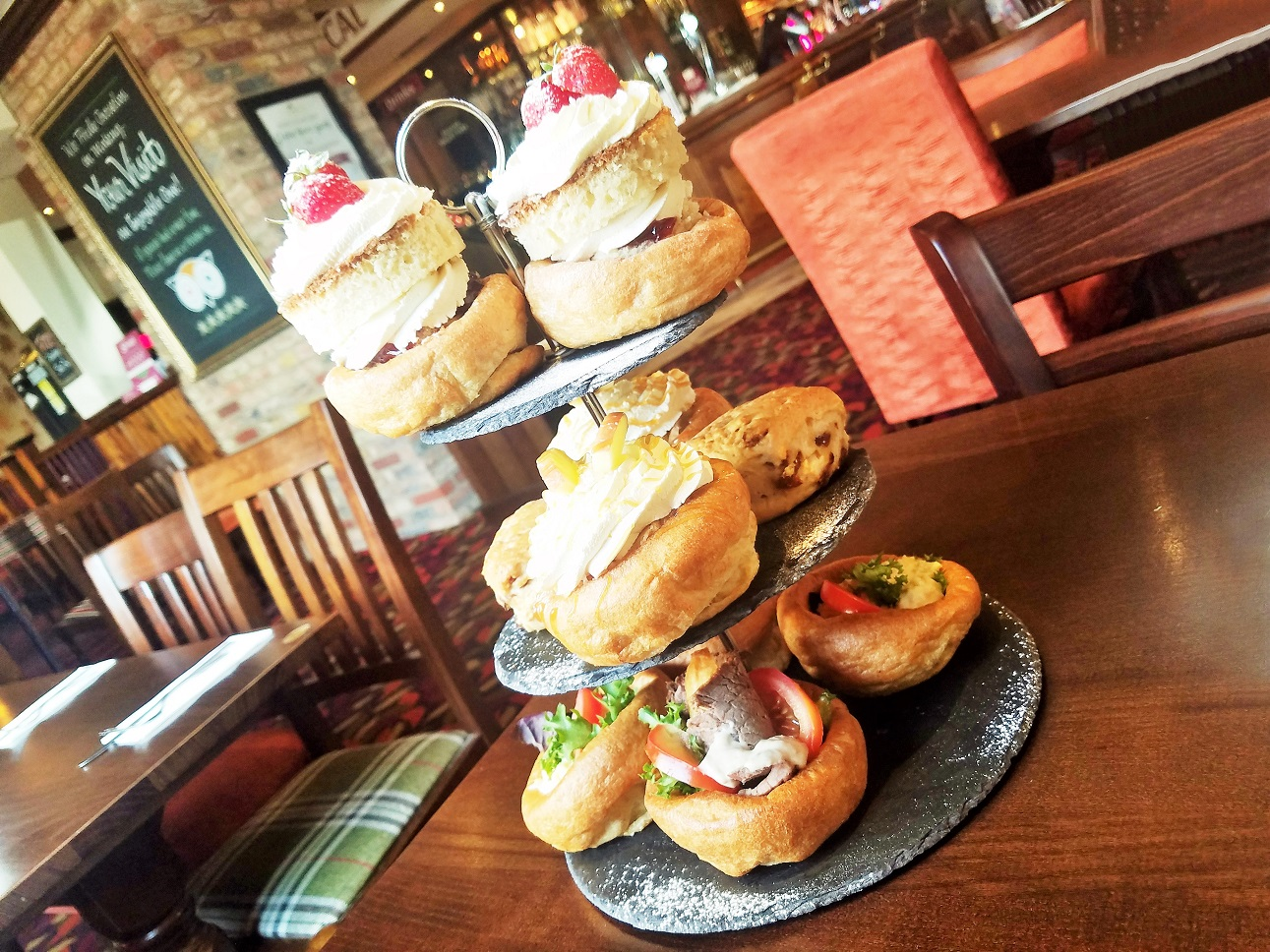 Yorkshire Afternoon Tea - three tier stand of afternoon tea delights in Yorkshire Puddings - Barnsley - BlogCrush Week 78