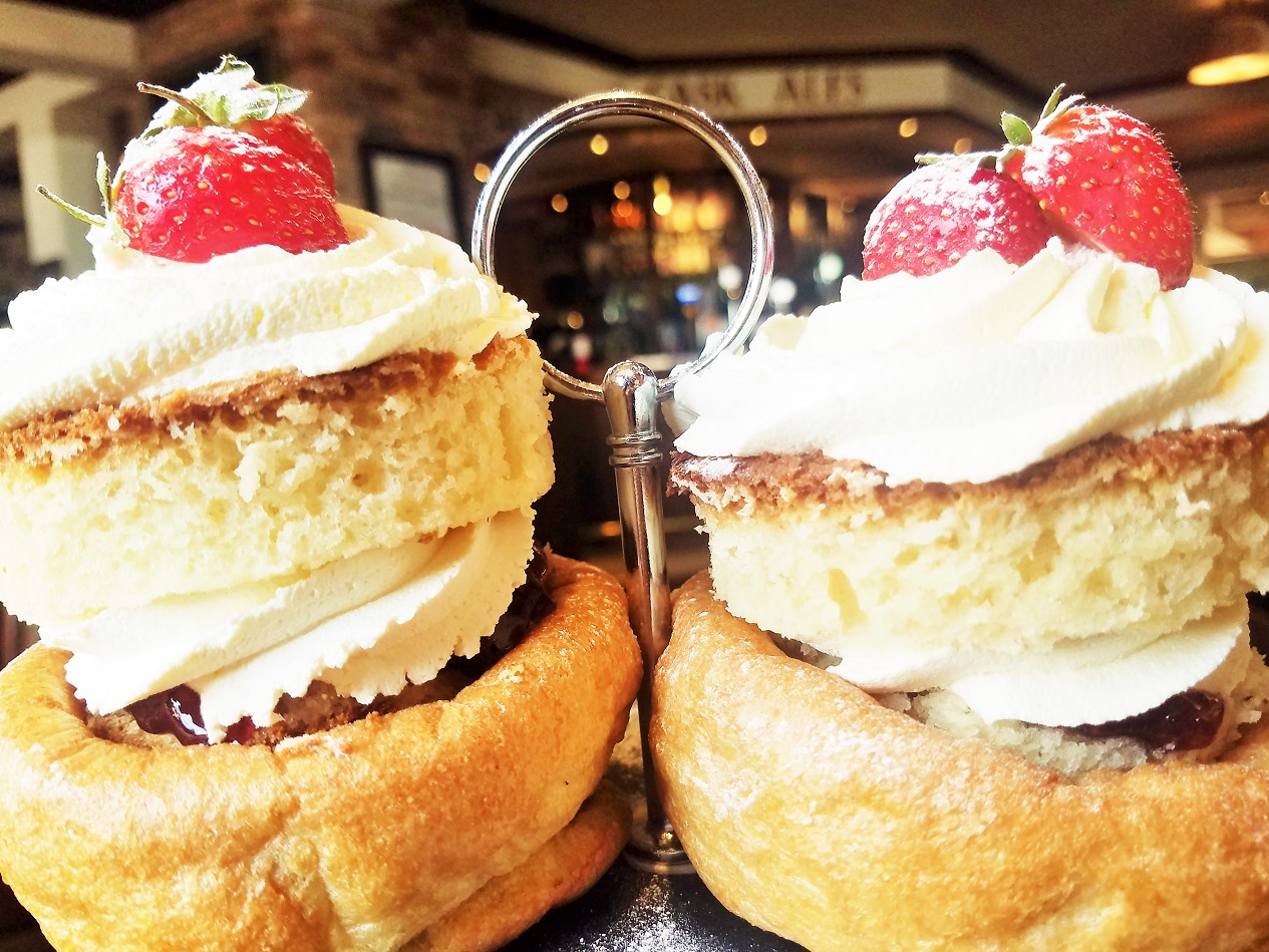Yorkshire Afternoon Tea - Victoria Sponge Cake and strawberries in a Yorkshire Pudding