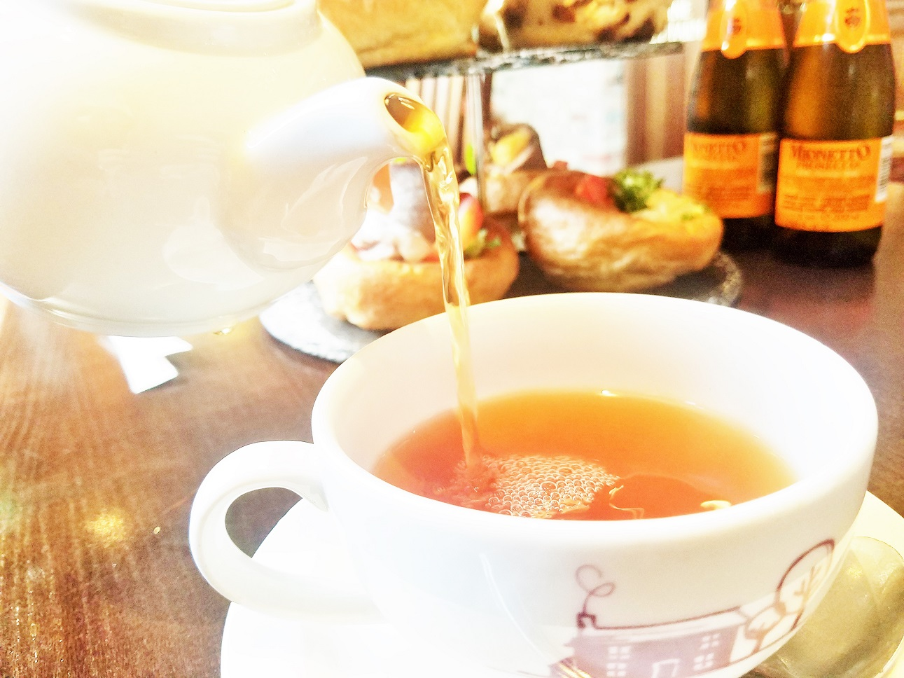 Yorkshire Afternoon Tea - pouring a cup of tea