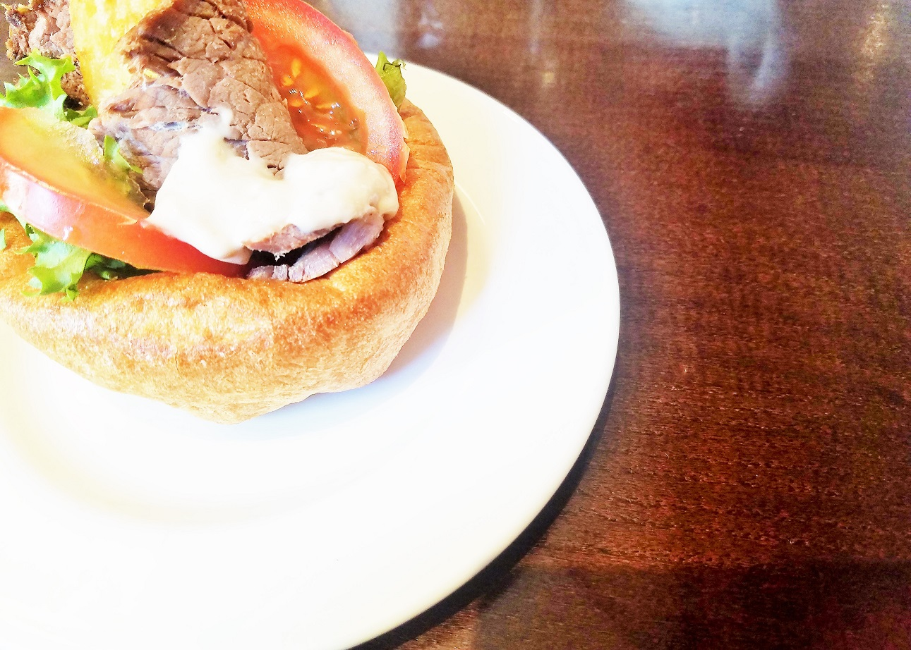 Yorkshire Afternoon Tea - roast beef sandwich in a Yorkshire Pudding