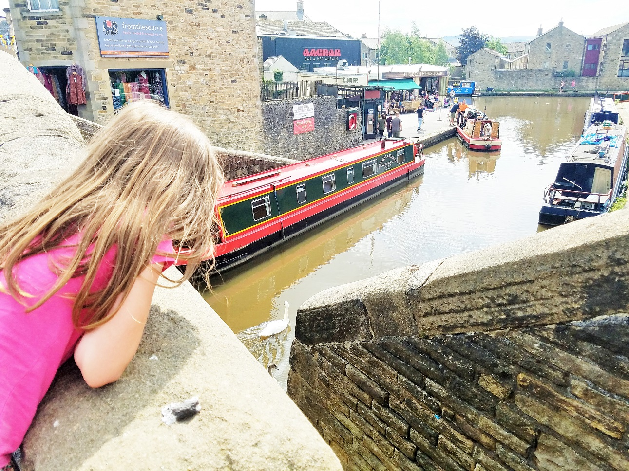 What is gentle parenting - my big piece of parenting advice - child looking over a bridge at canal boats