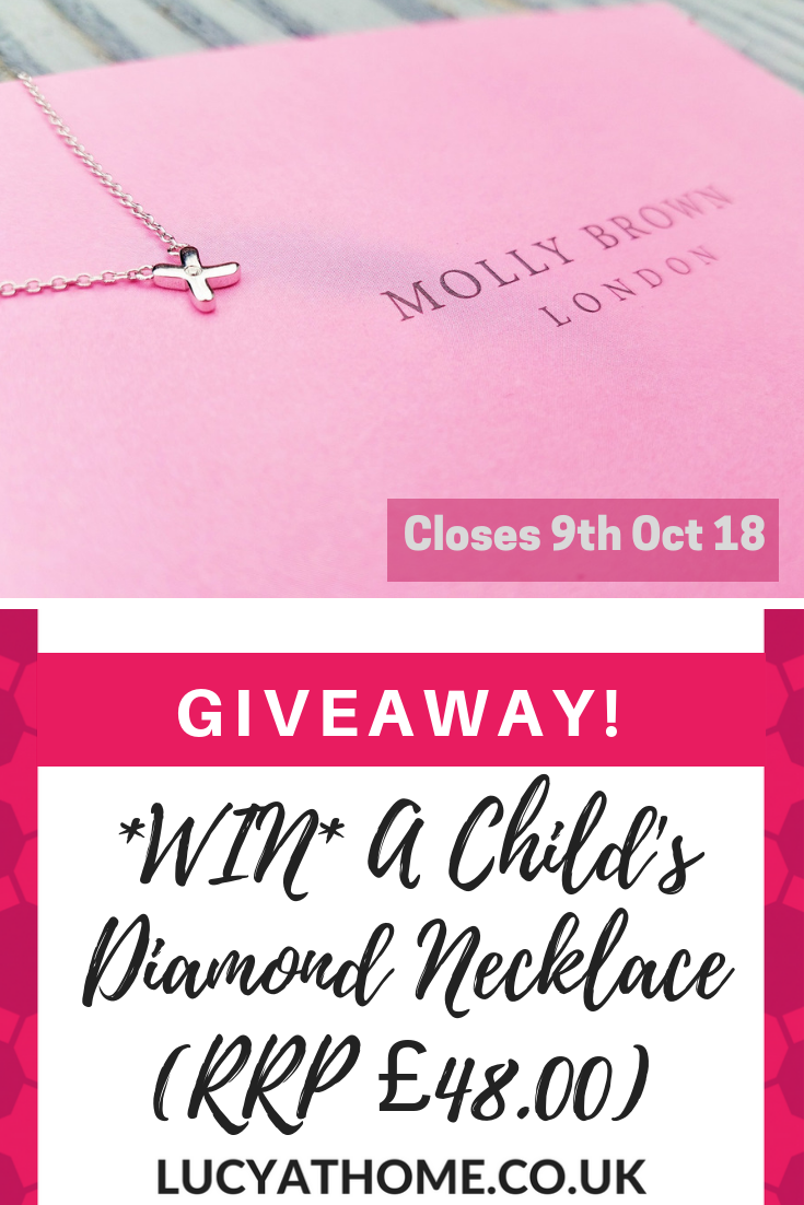 Win a child's diamond necklace RRP £48 - if you're looking for keepsake ideas for babies or christening gifts or special heartfelt gifts for kids, then this diamond necklace from Molly Brown could be perfect! Check out our review. PLUS you can #win one for free before 9th Oct 2018 #giveaway