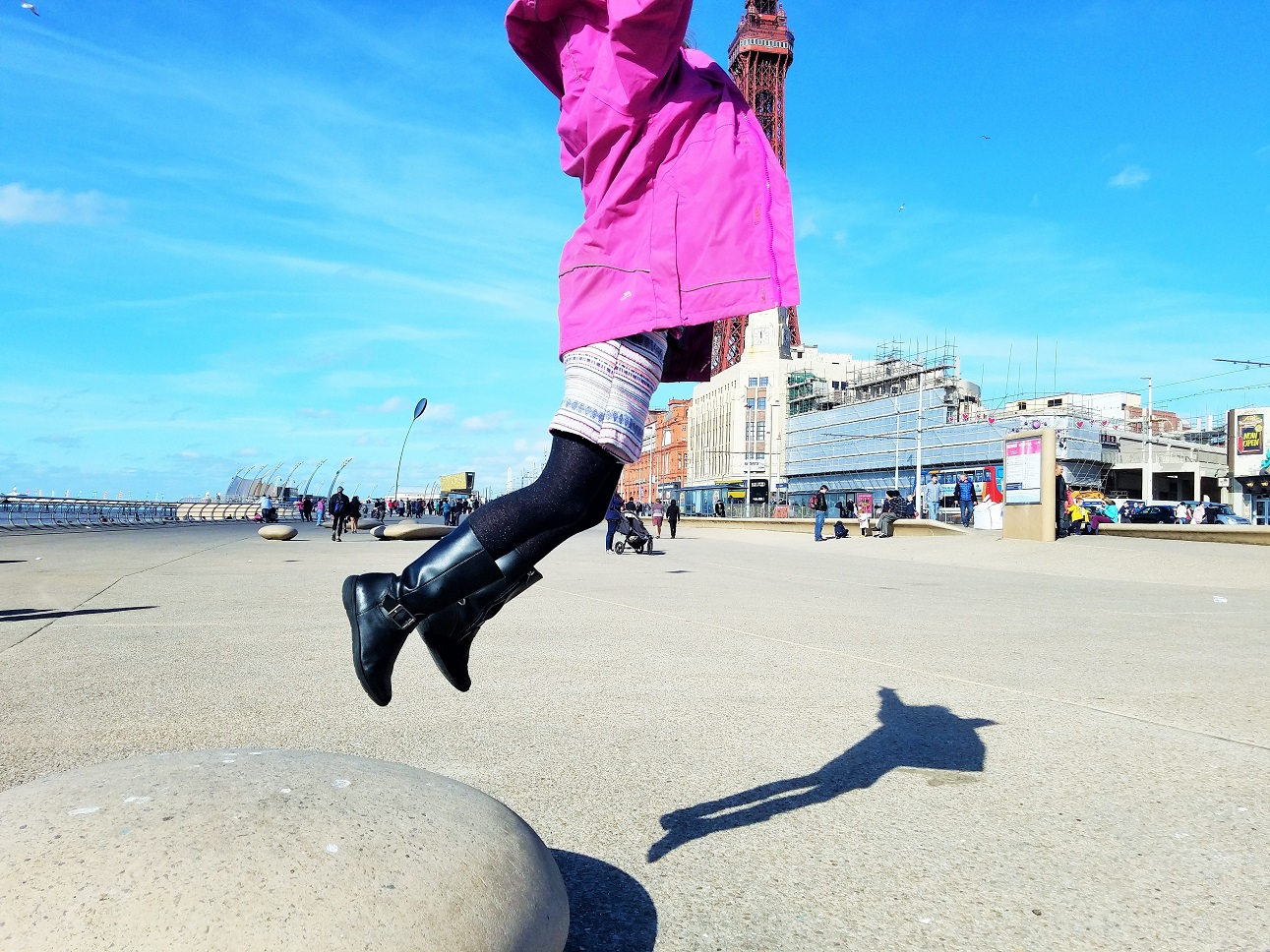 "It's manipulative to threaten kids with ""we're going home"" as the go-to consequence - it should be a last resort - child jumping off a rock outside blackpool tower"