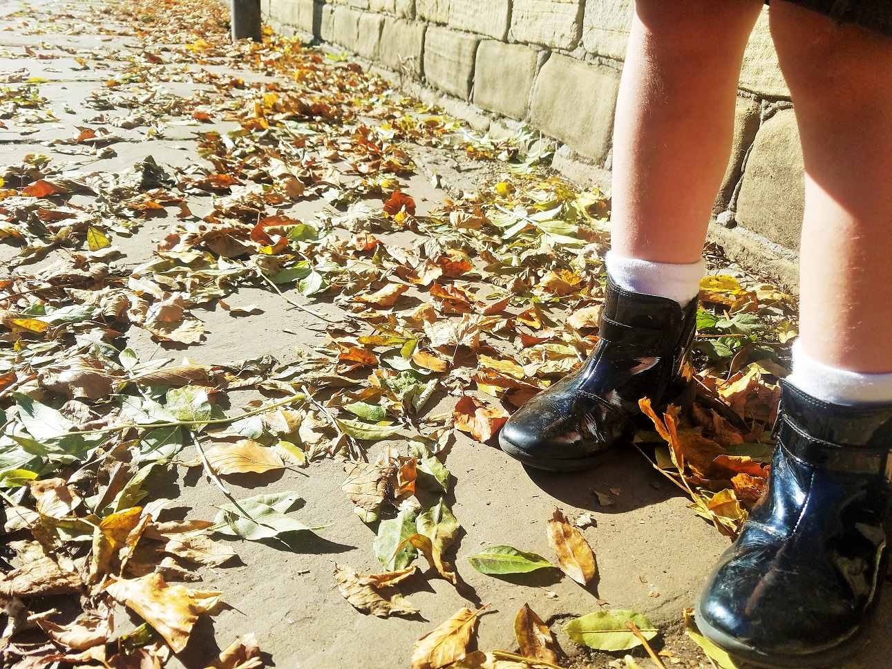 5 steps to follow when you've messed up parenting again - child stood in a pile of leaves